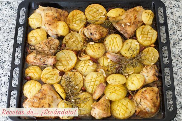 Como hacer asado de pollo con patatas