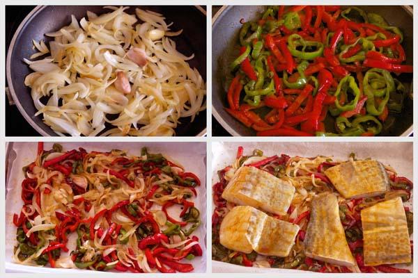 Preparación de bacalao al horno con pimientos y pure de patata