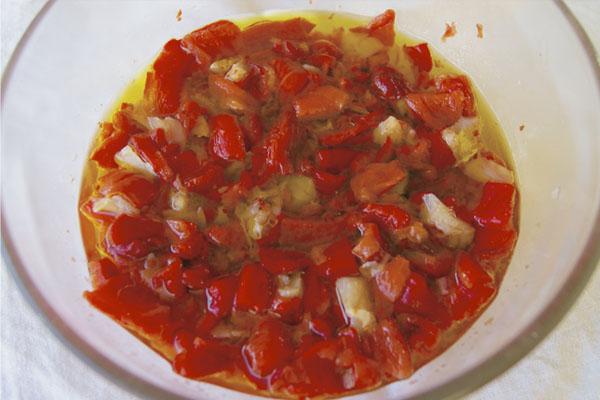 Receta de ensalada de bacalao con pimientos rojos asados