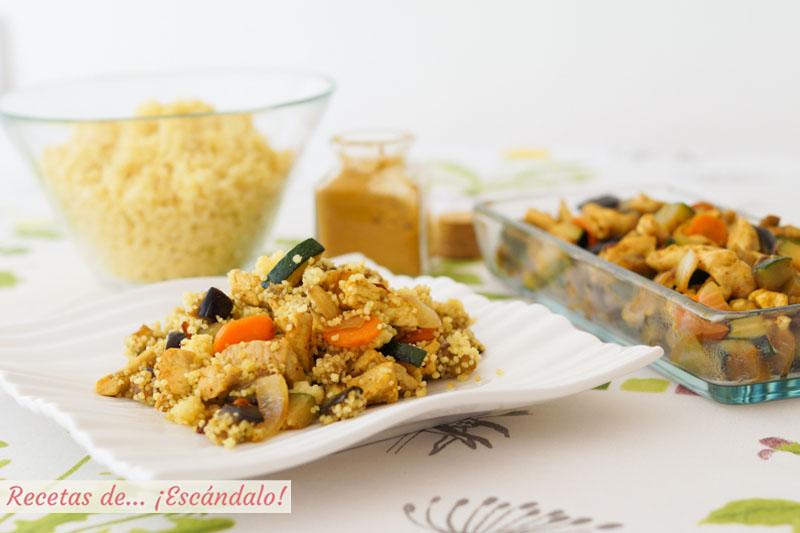 Cous cous o cuscus con verduras y pollo