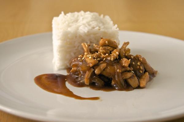 Pollo teriyaki con arroz basmati