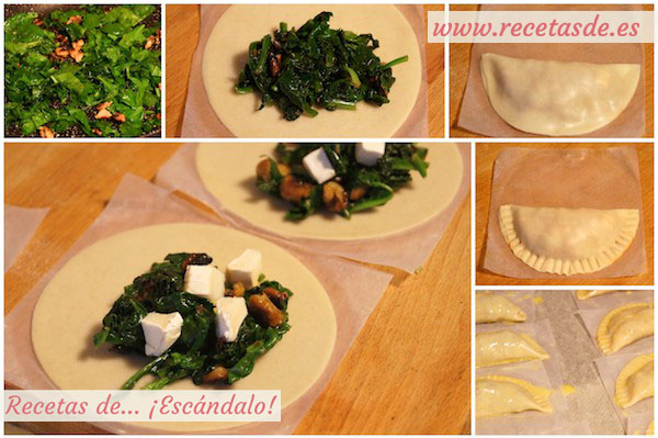 Receta de empanadillas de espinacas con queso de cabra y nueces
