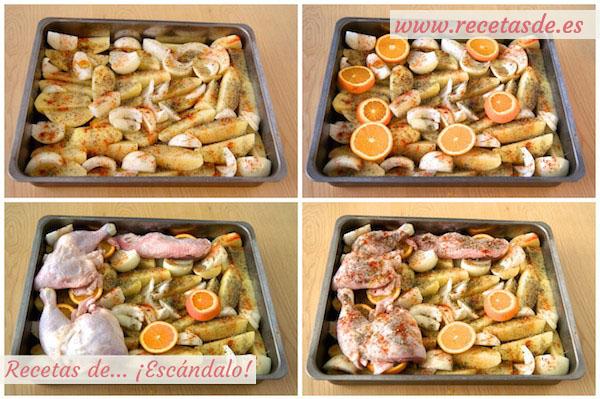 Contramuslos de pollo a la naranja asados en el horno con - Como cocinar pollo al horno ...
