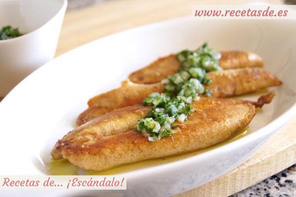 Receta de huevas de pescado aliñadas con salsa verde