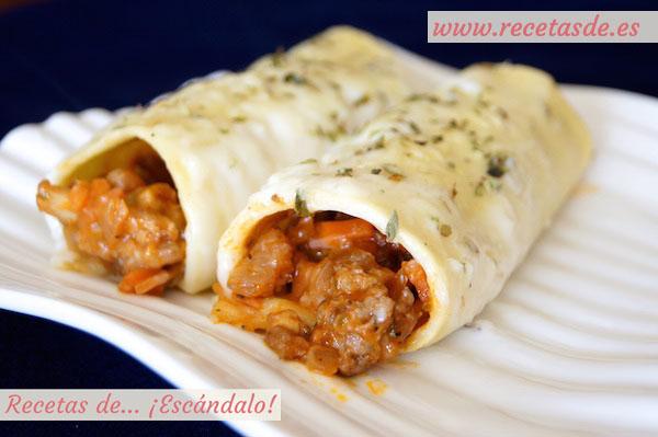 Canelones de carne picada y pasta fresca con bechamel recetas de esc ndalo - Que cocinar con carne picada ...