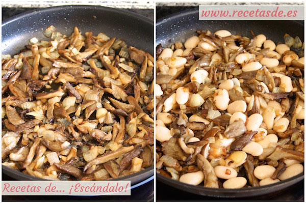 Receta de ensalada templada de alubias blancas y setas con comino
