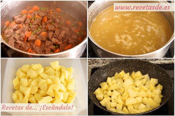 Cómo preparar la receta de estofado de ternera guisada en salsa a la jardinera con patatas