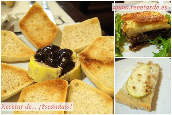 Foie de pato con confitura casera de arándanos, mousaka de berenjena y morcilla, y tosta con queso Torta del Casar y manzana