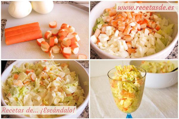 Cómo hacer la receta de ensaladilla de marisco con gambas y mayonesa ligera