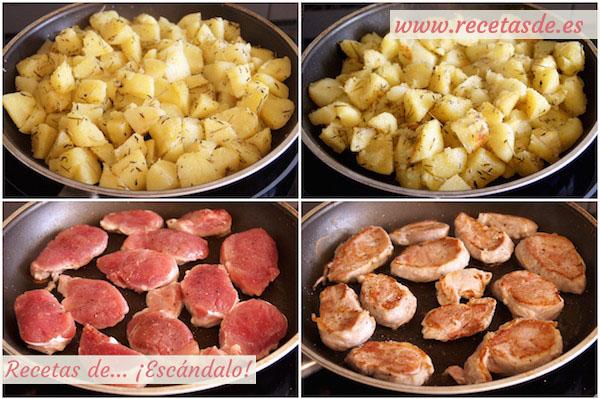Cómo hacer el solomillo de cerdo a la pimienta verde y guarnición de patatas aromatizadas