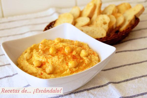 Receta de hummus o crema de pure de garbanzos