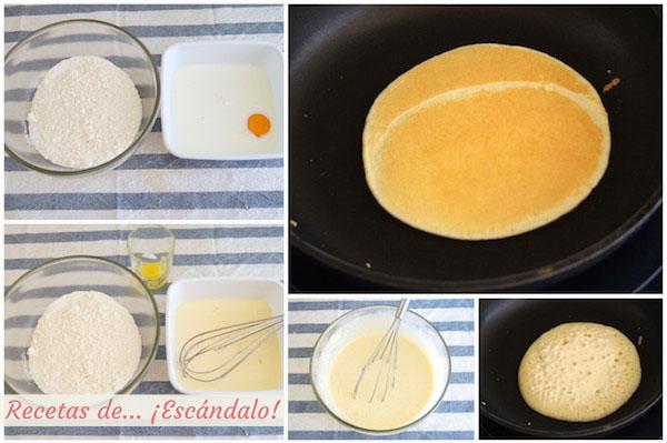 Como hacer tortitas americanas caseras o pancakes, receta