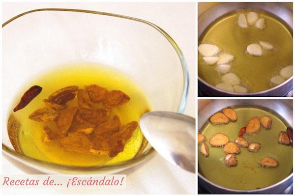 Cómo preparar aceite aromatizado con guindilla y ajo