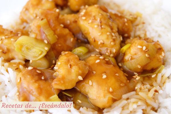Receta de pollo a la naranja al estilo chino con arroz basmati