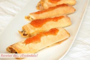 Crujiente de queso brie y pasta filo con dulce de membrillo casero