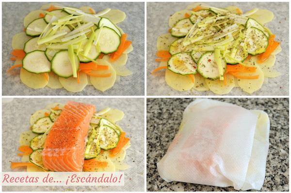 Como hacer la recta de salmon en papillote al horno