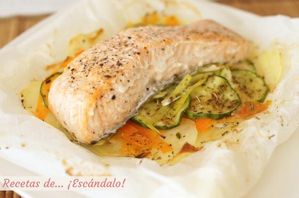 Receta de salmon en papillote al horno con verduras y patatas