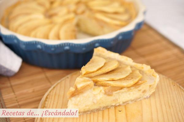 Tarta de manzana casera con crema pastelera y masa quebrada