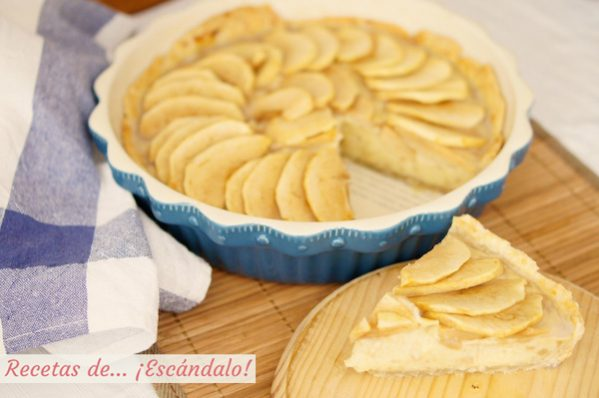 Receta de tarta de manzana con crema pastelera y masa quebrada