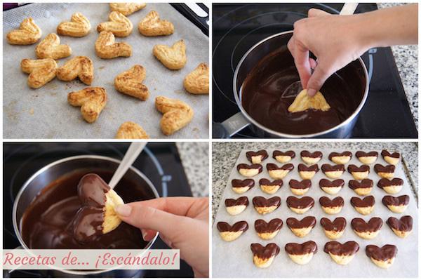 Cobertura de chocolate para las palmeritas de hojaldre