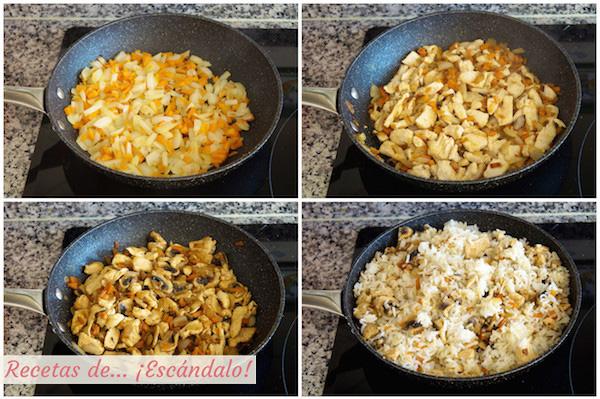 Como hacer arroz al curry con pollo y verduras