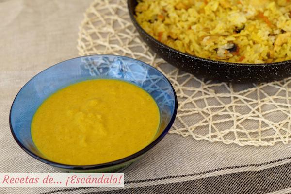 Salsa curry, receta sin nata