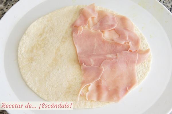 Preparacion de las quesadillas de jamon y queso