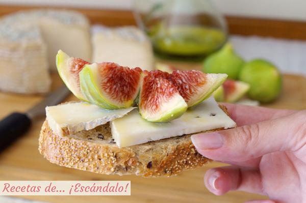 Receta de tostadas con queso D.O.P. Camerano e higos frescos alinados