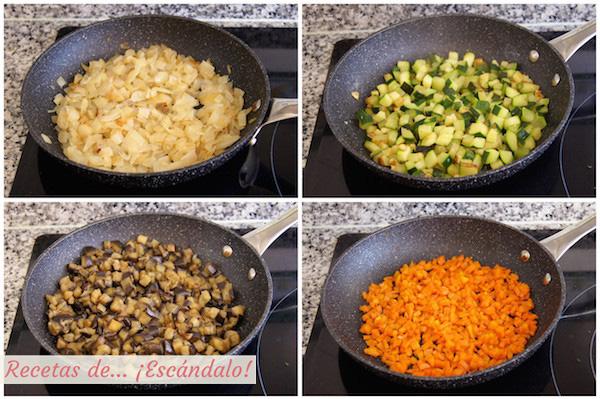 Verduras salteadas para la lasana