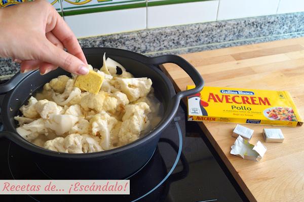 Preparando la crema de coliflor