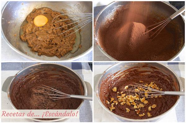 Como hacer la receta de bizcocho de platano y chocolate con nueces