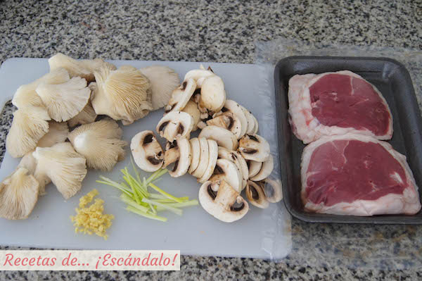 Ingredientes para el tournedo de cordero