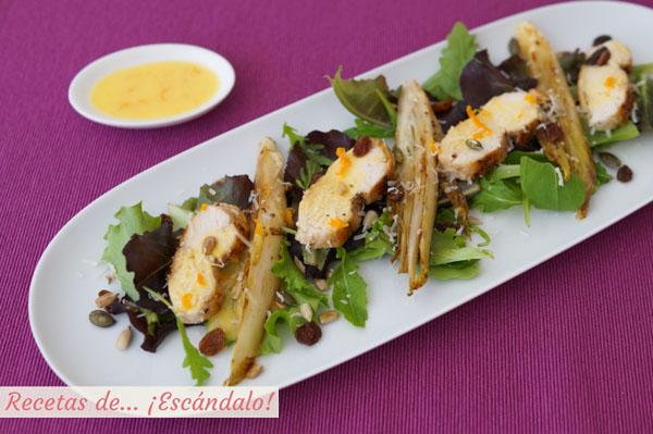 Receta de ensalada de pollo y endivias con salsa de naranja