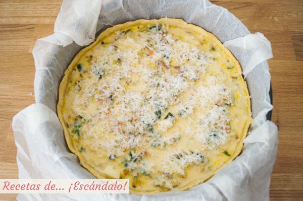 Quiche de verduras y queso casera