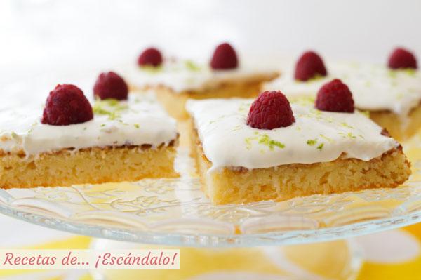 Como hacer bizcochitos de limon jugosos con crema de queso mascarpone y lima