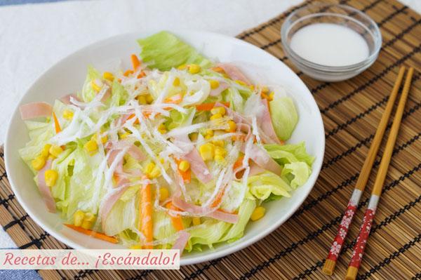 Receta de ensalada china con su salsa blanca agridulce casera
