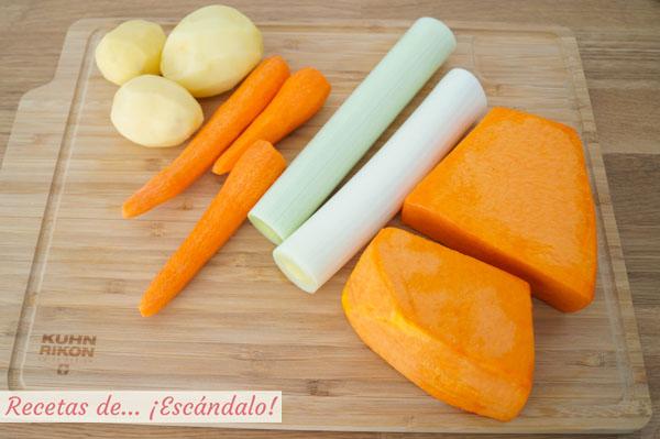 Ingredientes para el pure de calabaza
