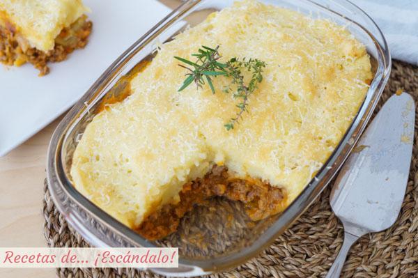 Receta de pastel de carne picada y patata con queso