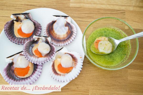 Zamburinas y salsa verde