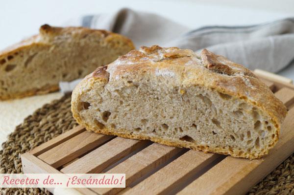 Corte de pan casero en cazuela. Receta muy facil para hacer pan en casa