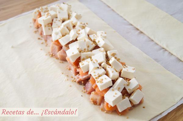 Hojaldre con salmon y queso feta