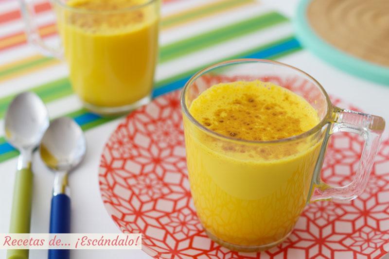 Golden milk o leche dorada con curcuma y especias
