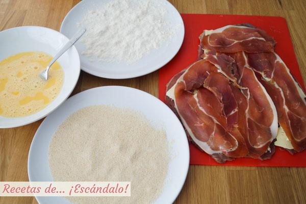 Huevos, harina y pan rallado para empanar