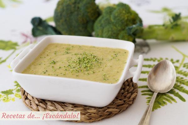 Receta de crema de brocoli con ajos tiernos y patata. Receta saludable