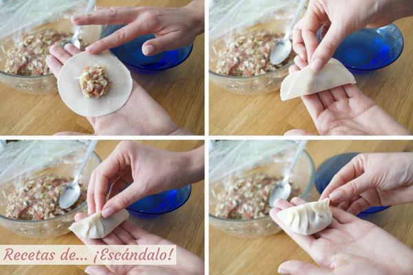Como cerrar y darles forma a las gyozas o empanadillas japonesas