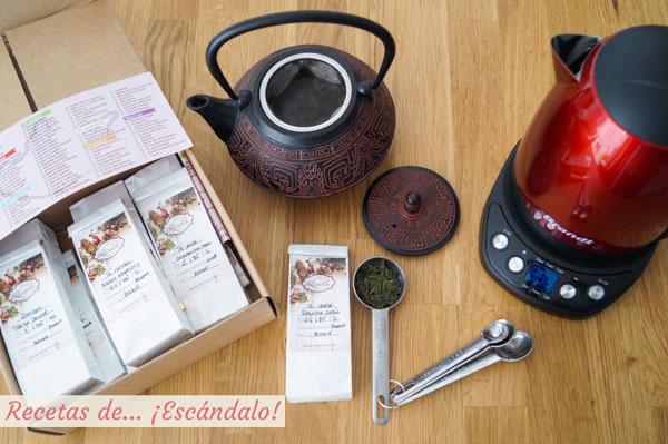 Ingredientes y utensilios para preparar te verde