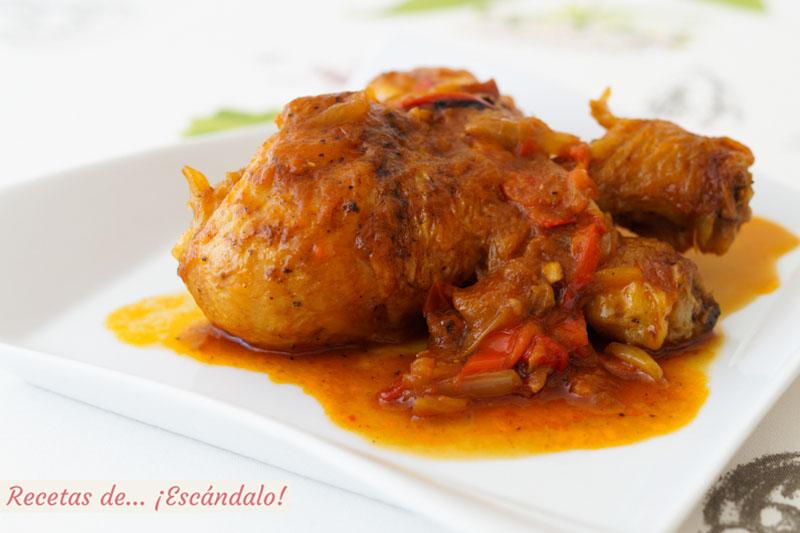 Pollo al chilindron. Receta de guiso tradicional riquisimo