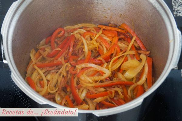 Verduras para el pollo al chilindron