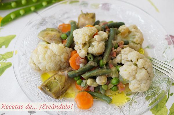 Receta facil y saludable de menestra de verduras con jamon