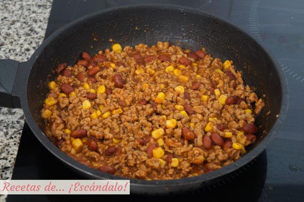 Carne picada, frijoles y maiz